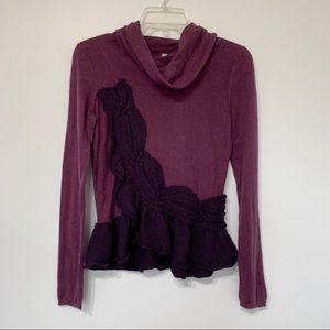 Anthro Moth cowl neck sweater purple ruffle light